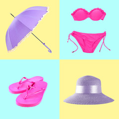 Collage of beach set on colorful background