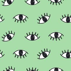 Modern hand drawn eye doodles seamless pattern