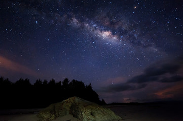Starry night sky with milky way. Image contain visible noise due to high iso. soft focus due to wide aperture and long expose.