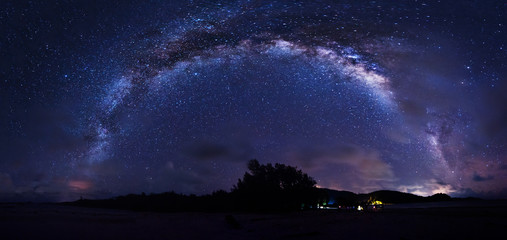 Stitched Panorama night sky with Milky Way. Image contain visible noise due to high ISO. Soft focus due to wide aperture and long expose.