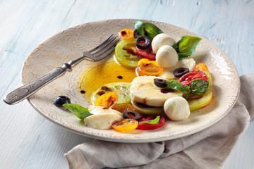Salad with Italian mozzarella.