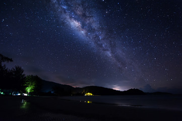 Night sky with Milky Way. Image contain visible noise due to high ISO. Soft focus due to wide aperture and long expose.
