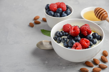 Natural yogurt with fresh berries and honey, healthy breakfast concept, selective focus, copy space