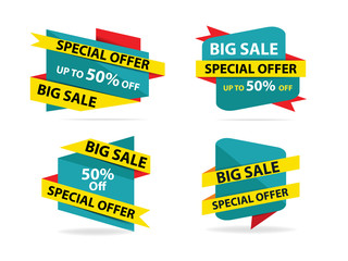Colorful shopping sale flyer poster brochure template, discount sale elements for advertising