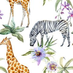 Wall Mural - Tropical wildlife vector pattern