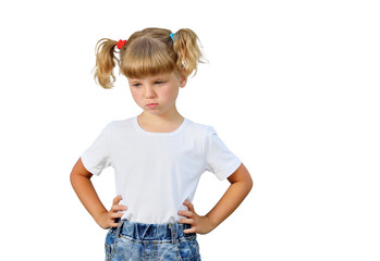 The little girl is angry. She is dissatisfied with something.