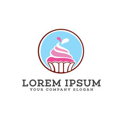 Ice cream cake logo design concept template