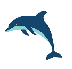 dolphin cartoon character isolated on white background, vector illustration