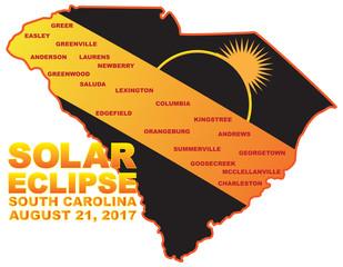 2017 Solar Eclipse Across South Carolina Cities Map vector Illustration