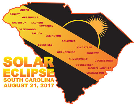 2017 Solar Eclipse Across South Carolina Cities Map vector Illustration