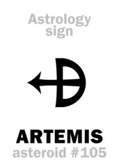 Astrology Alphabet: ARTEMIS, asteroid #105. Hieroglyphics character sign (single symbol).