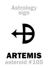 Astrology Alphabet: ARTEMIS, asteroid #105. Hieroglyphics character sign (single symbol).