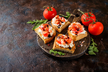 Poster Entree Bruschetta with tomatoes