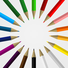 Set of Colored Pencils Forming a Circle with Blank Space for your Content - School