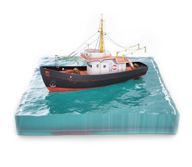 Boat on sea surface