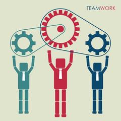 Work together with gear system. Teamwork concept. Vector illustration.