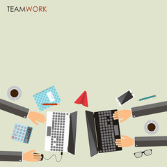 Teamwork concept. Business partners working together at office desk. Top view. Place for text. Vector illustration.
