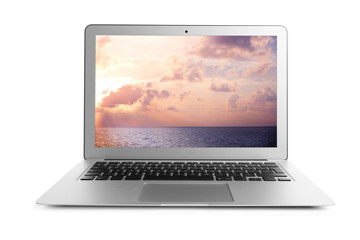 Laptop and wallpaper of landscape on screen, white background