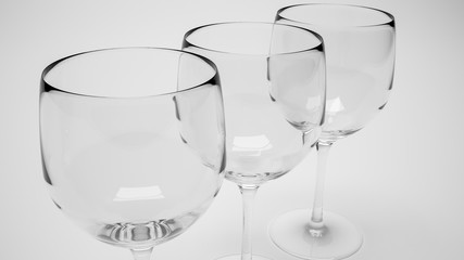 3d render of closeup of three wine glasses in row in monochrome