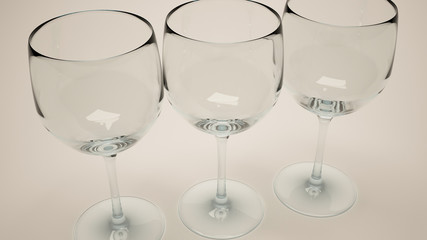 3d render of closeup of three wine glasses with warm light