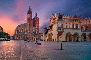 Krakow. Image of old town Krakow, Poland during sunrise. Wall mural