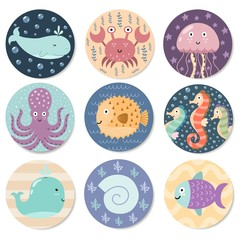 Stickers collection with cute sea animals. Great for baby shower and kids design. Whale, octopus, crab, jellyfish, seahorse, fish and shell. Vector illustration