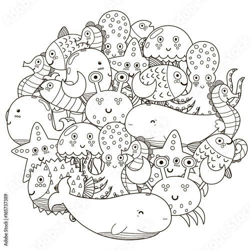 Underwater Circle Shape Pattern For Coloring Book Cute Sea Animals Vector Illustration