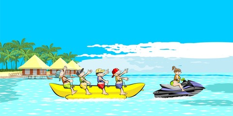 Banana boat group of friends having fun on summer vacation