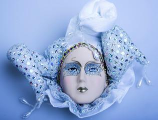 Blue mask over blue background