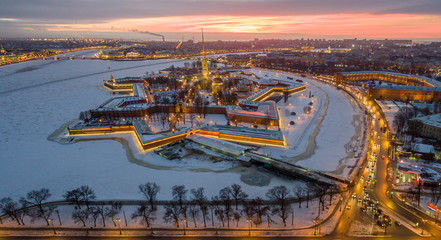 Aerial view, Peter and Paul Fortress, Neva river, Saint Petersburg, Russia