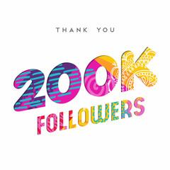 200k internet follower number thank you template