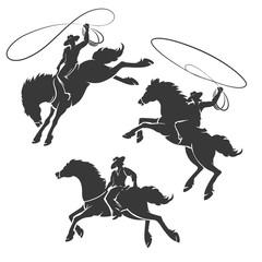 Rodeo Cowboy Emblem Set