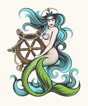 Mermaid with Steering Wheel
