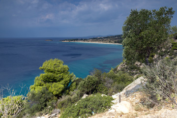Panoramic view of Agios Ioannis Beach at Sithonia peninsula, Chalkidiki, Central Macedonia, Greece