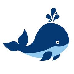 Vector Cute Cartoon Whale on White Background