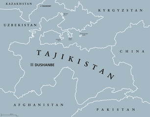 Uzbekistan political map with capital Tashkent national borders