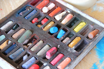 Art palette and pastels