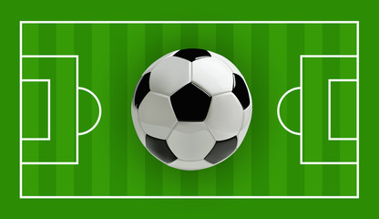 Soccer or Football 3d Ball on green field, Vector illustration
