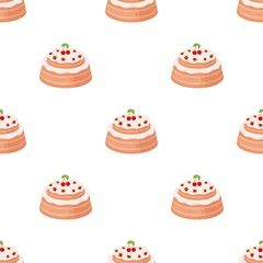 Cake with cherry icon in cartoon style isolated on white background. Cakes symbol stock vector illustration.