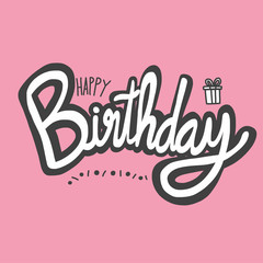 Happy Birthday word vector illustration on pink background