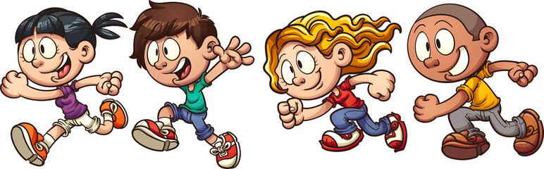 Cartoon running kids. Vector clip art illustration with simple gradients. Each in a single layer.