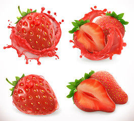 Strawberry juice. Fresh fruit, 3d vector icon