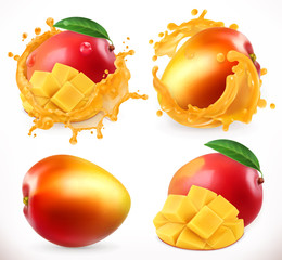 Mango juice. Fresh fruit, 3d vector icon