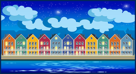 colorful houses at night