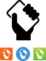 Hand Holding Phone Icon - Illustration