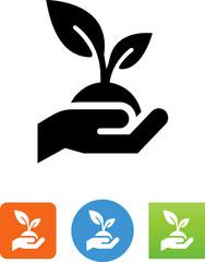 Hand Holding Plant Icon - Illustration