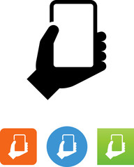 Hand Holding Smart Phone Icon - Illustration