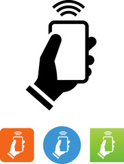 Hand Holding Smart Phone With Signal Icon - Illustration