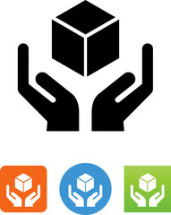 Hands Holding Cube Icon - Illustration