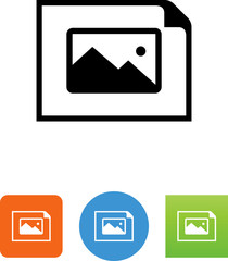 Horizontal Document With Landscape Icon - Illustration